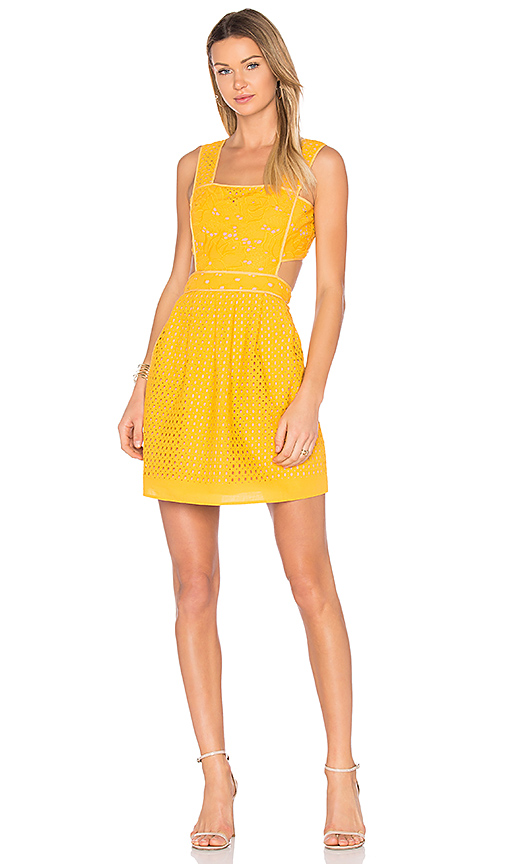 aijek Ann Broderie Pinafore Dress in Yellow. - size 1/S (also in 3/L)