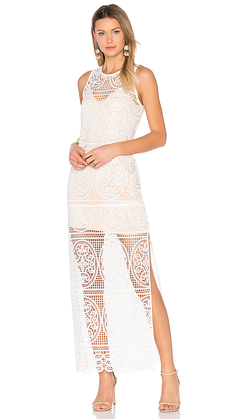 aijek Blackjack Embroidered Column Maxi Dress in White