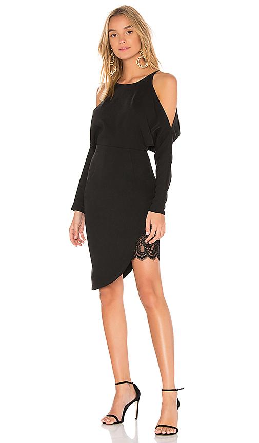 aijek Valencia Wave Long Sleeve Dress in Black. - size 1/S (also in 2/M)