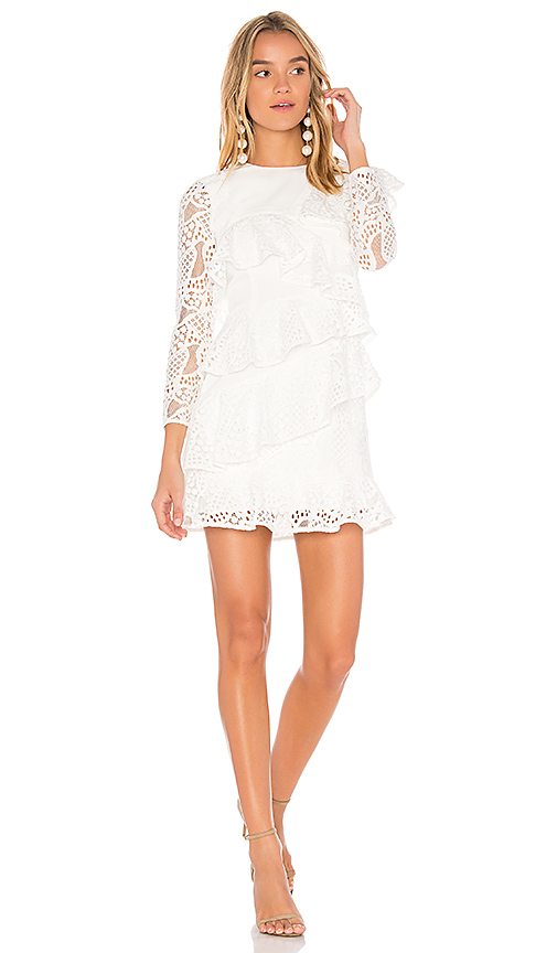 aijek Mae Ruffled Lace Dress in Ivory. - size 1/S (also in 2/M,3/L)