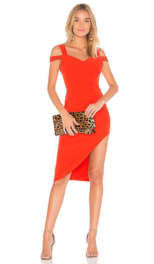 aijek Valencia Cold Shoulder Dress in Red