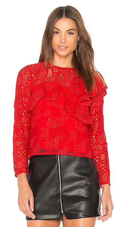 aijek Mae Ruffled Lace Blouse in Red