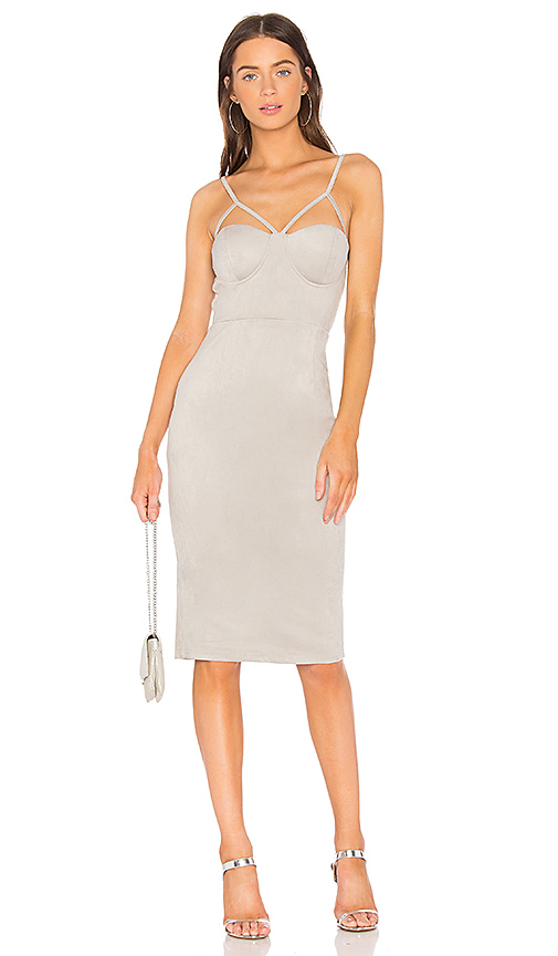 AIRLIE Abbey Suede Midi Dress in Gray