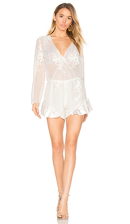 AIRLIE Leonie Wrap Playsuit in White. - size L (also in M,S,XS)