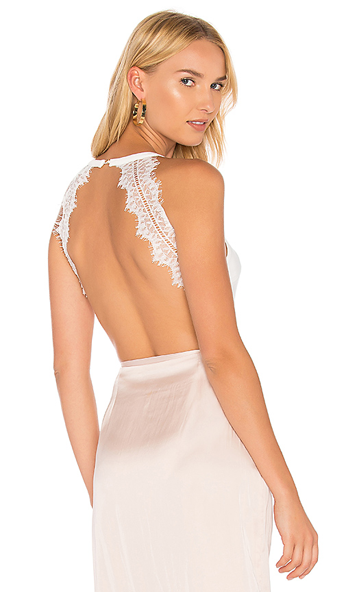 AIRLIE Delicate Lace Bodysuit in White. - size L (also in S,XS)
