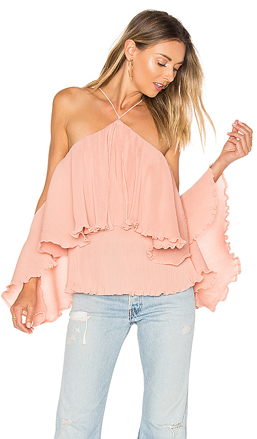 AIRLIE Princess Frill Top in Pink. - size M (also in S,XS)