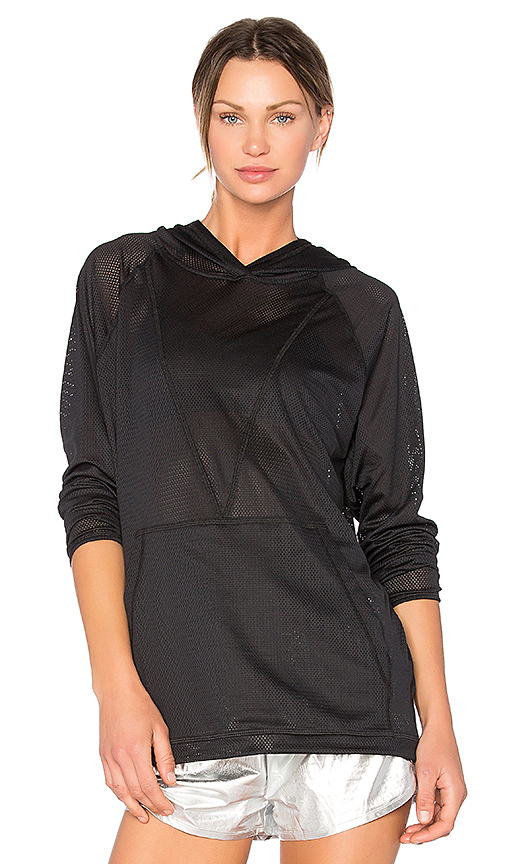 ALALA Mesh Drawstring Hoodie in Black. - size L (also in M,S,XS)