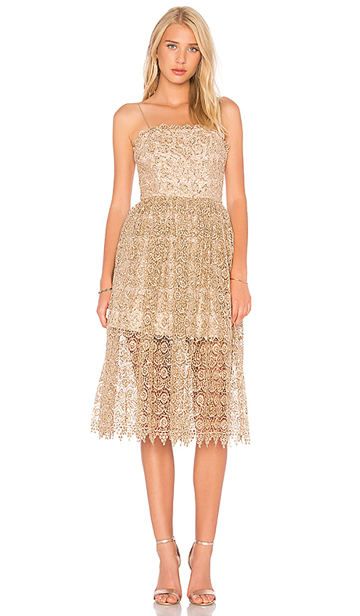 Alice + Olivia Alma Dress in Metallic Gold