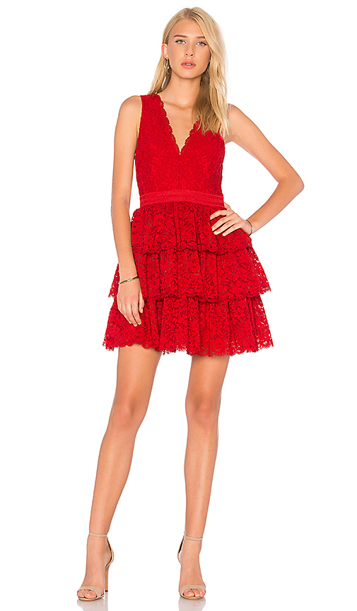 Alice + Olivia Clora Dress in Red