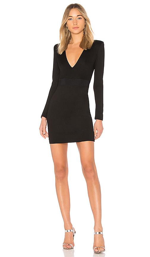Alice + Olivia Simone Deep V Dress in Black