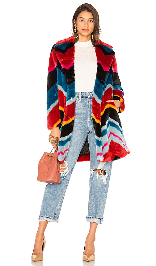 Alice + Olivia Roth Faux Fur Coat in Red