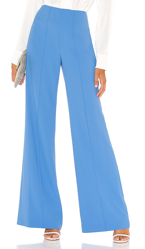 Alice And Olivia Alice + Olivia Dylan Clean Highwaist Wide Leg Pant In Blue.
