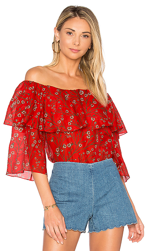 Photo of Alice + Olivia Meagan Top in Red - shop Alice + Olivia tops sales