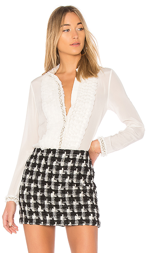 Alice + Olivia Arminda Ruffle Button Down in Ivory