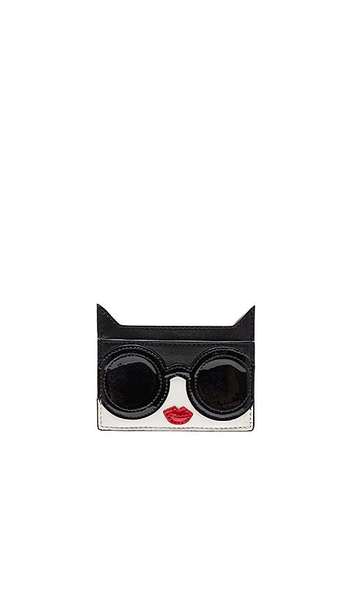 Alice + Olivia Stace Face Cat Card Case in Black