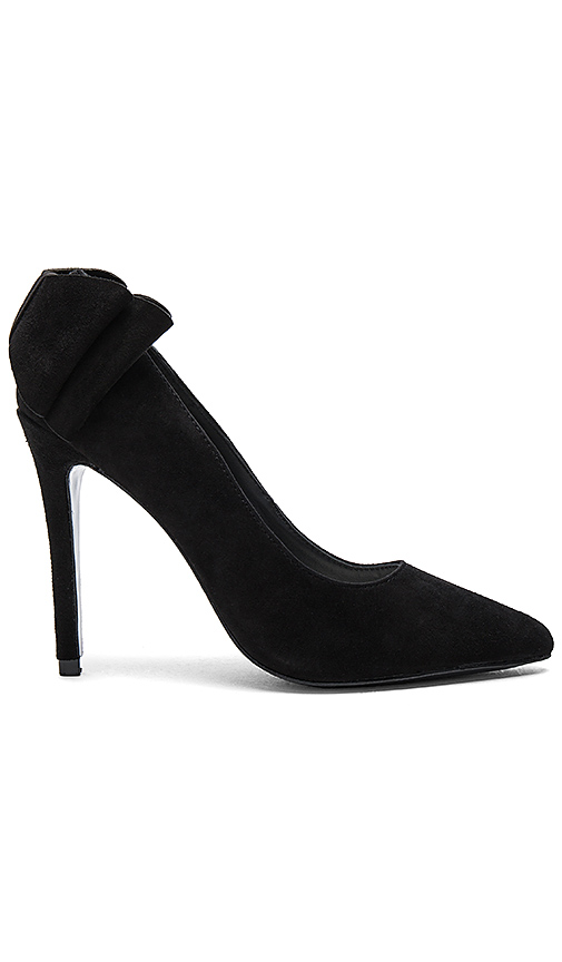 Alice + Olivia Dayna Suede Bow Back Heel in Black. - size 39 (also in 40)