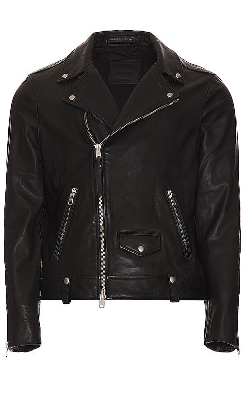 Allsaints Manor Biker Leather Jacket In Black