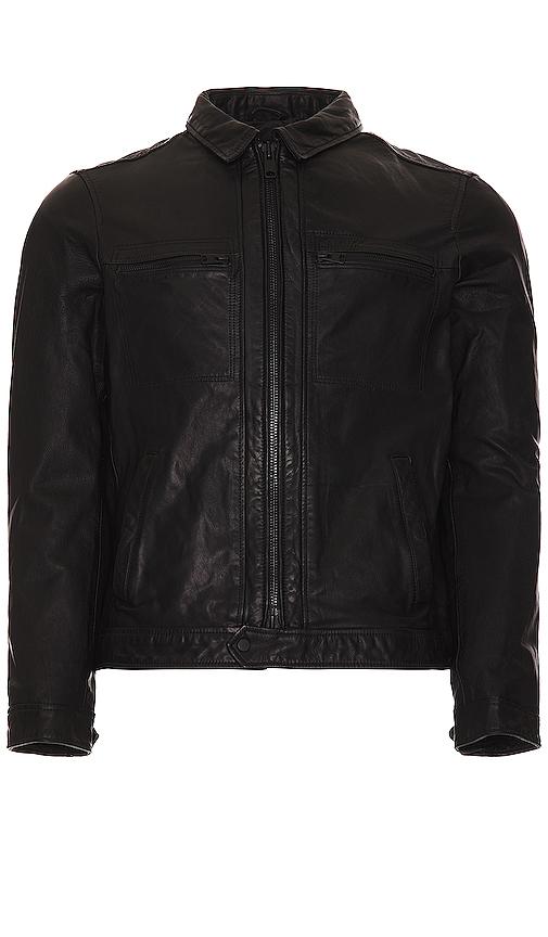 Allsaints Lark Leather Jacket In Black