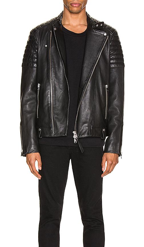Allsaints Jasper Leather Slim Fit Biker Jacket In Black