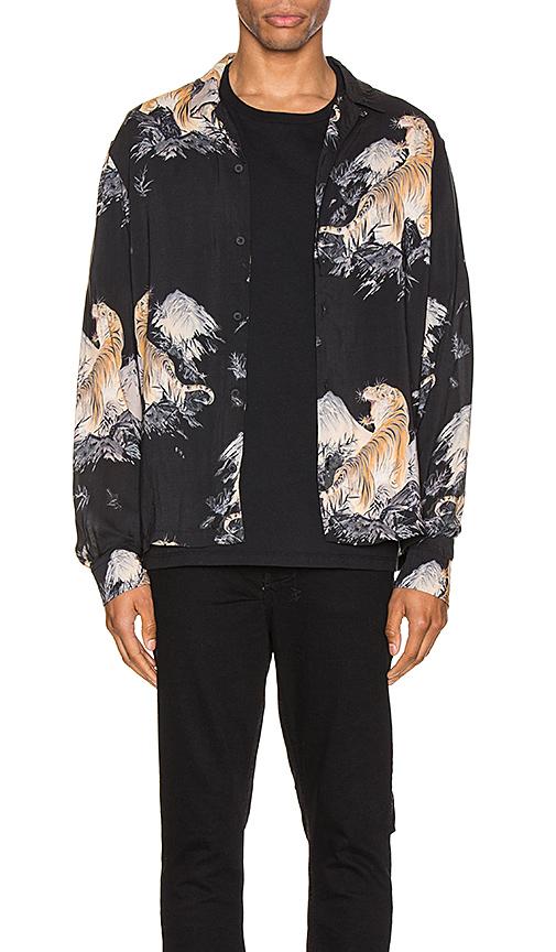 Allsaints Kayan Tiger Print Long Sleeve Slim Fit Button-down Shirt In Jet Black
