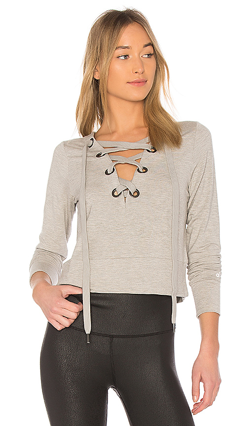 alo Ideal Long Sleeve Top in Gray