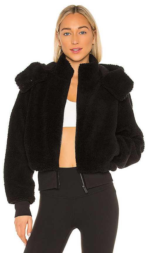 Alo Yoga Foxy Sherpa Hooded Active Jacket In Black