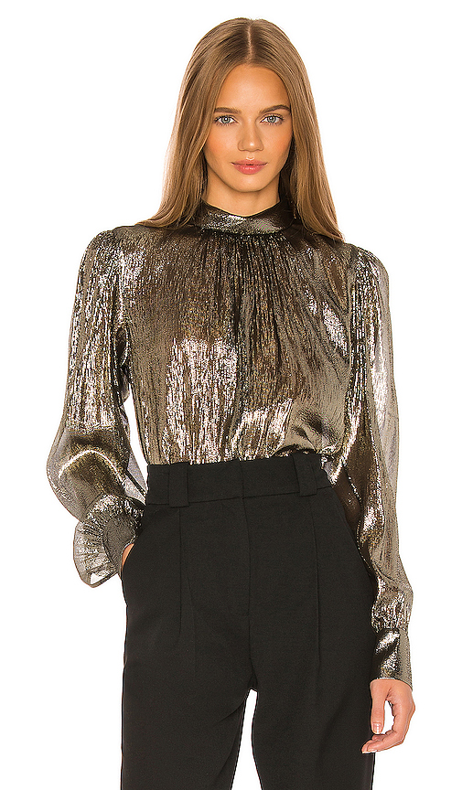 A.l.c Tops A.L.C. LYDIA BLOUSE IN METALLIC GOLD.