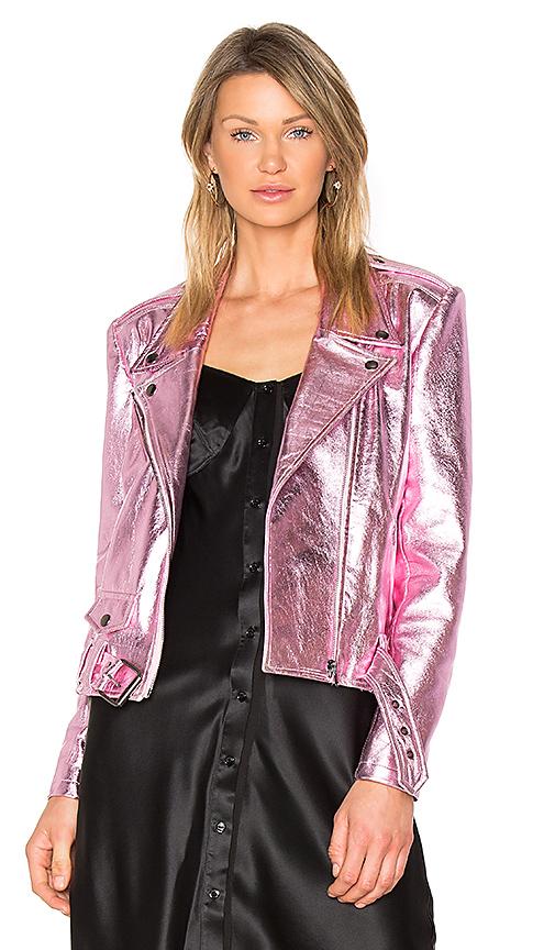 ALYSON EASTMAN Gem Leather Jacket in Pink