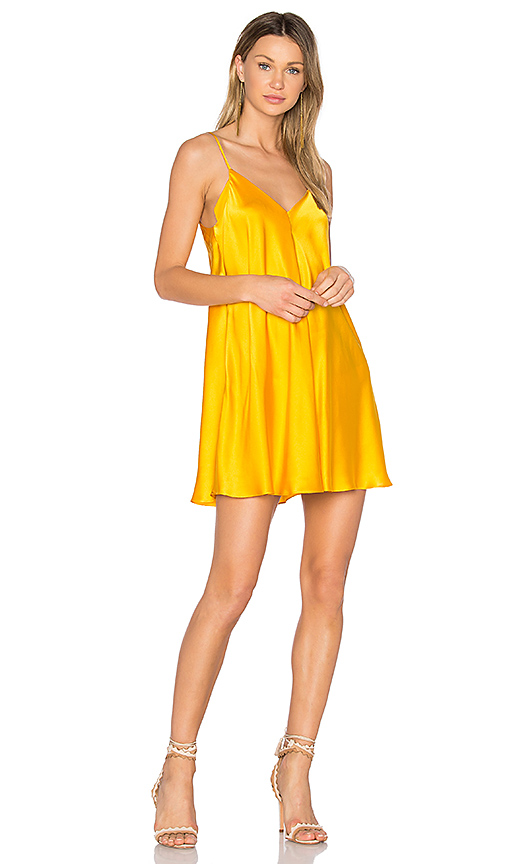 Amanda Uprichard Deep V Slip Dress in Yellow