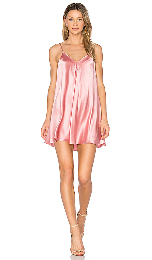 Amanda Uprichard Deep V Slip Dress in Pink