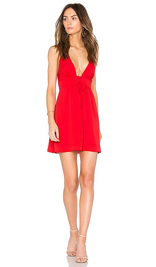 Amanda Uprichard Corset Waist Dress in Red