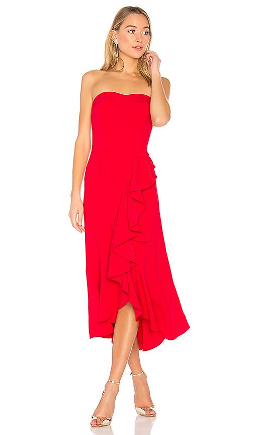 Amanda Uprichard Fernanda Strapless Dress in Red