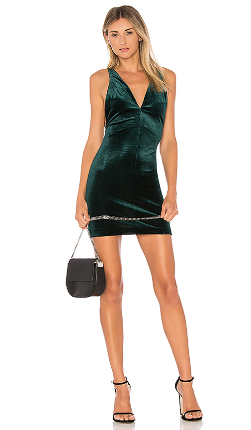 Amanda Uprichard Velvet Portsmouth Dress in Green