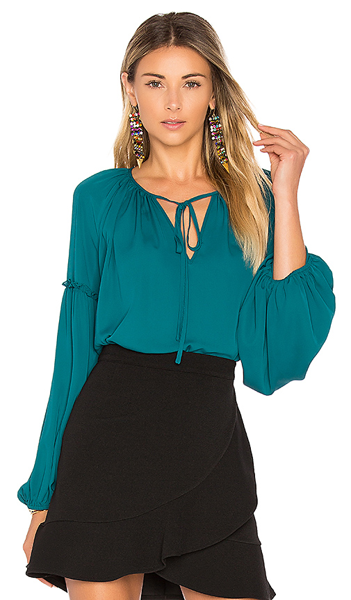 Amanda Uprichard Naya Blouse in Teal. - size L (also in M,S,XS)