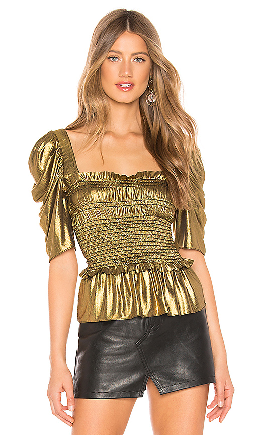 AMANDA UPRICHARD | Amanda Uprichard X REVOLVE Marisol Top In Metallic Gold. - Size XS (Also In L,M,S) | Goxip