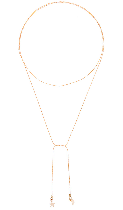 Amarilo To the Moon and Back Necklace in Metallic Gold.