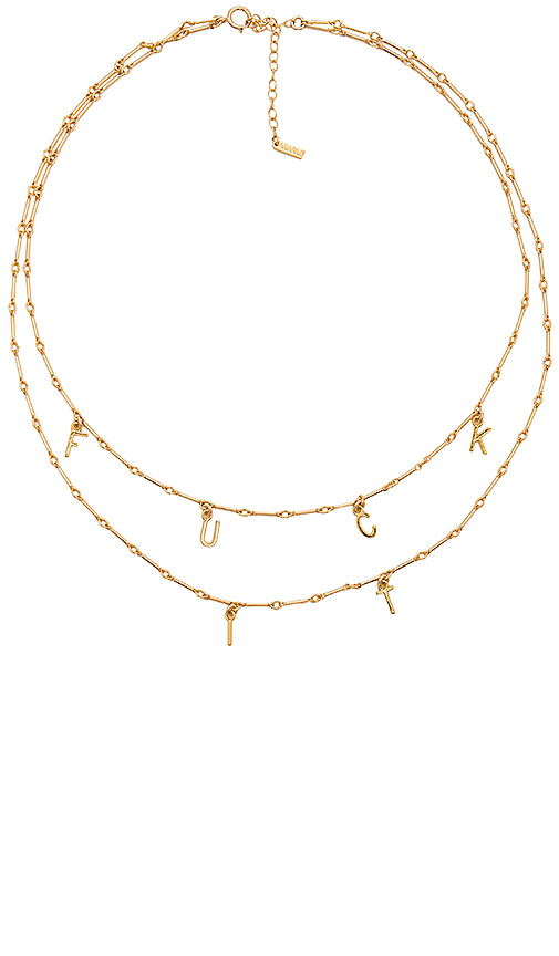 Amarilo Fuck It Necklace Set in Metallic Gold.