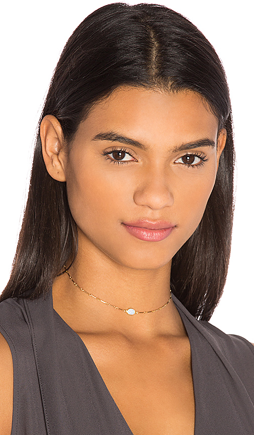 Amarilo Opal Bar Chain Choker in Metallic Gold.