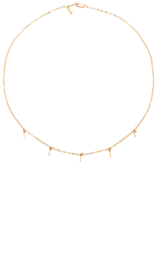 Amarilo 5 Bar Drop Necklace in Metallic Gold.