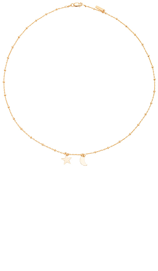Amarilo Sibling Moon and Star Necklace in Metallic Gold