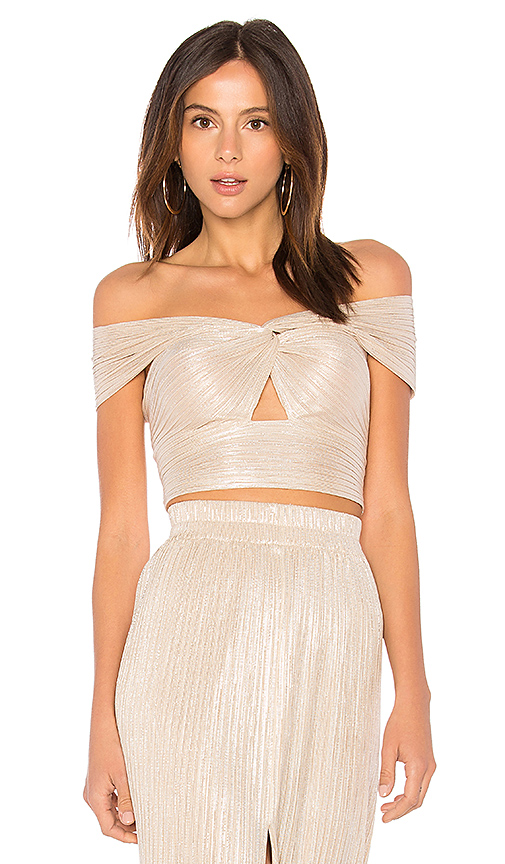 Alice McCall Le Girl Cropped Top in Metallic Gold