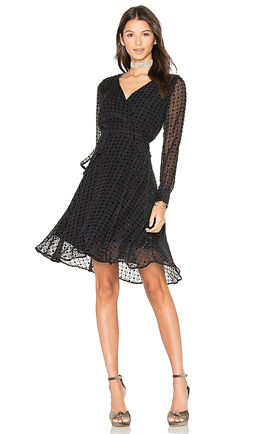 amour vert Dalton Wrap Dress in Black. - size L (also in S)