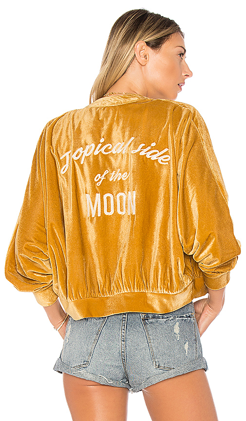 AMUSE SOCIETY Somedays Bomber Jacket in Yellow. - size L (also in M,S,XS)