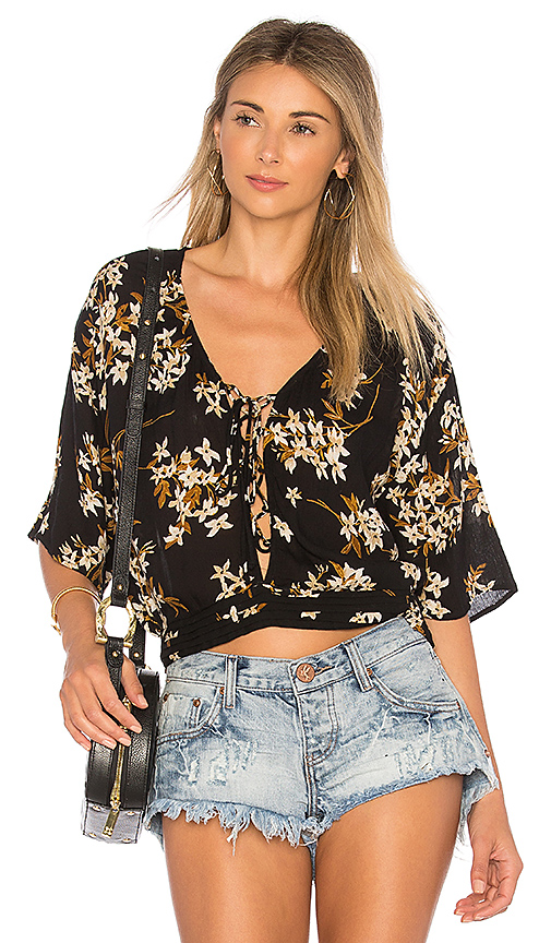 AMUSE SOCIETY Stevie Floral Blouse in Black