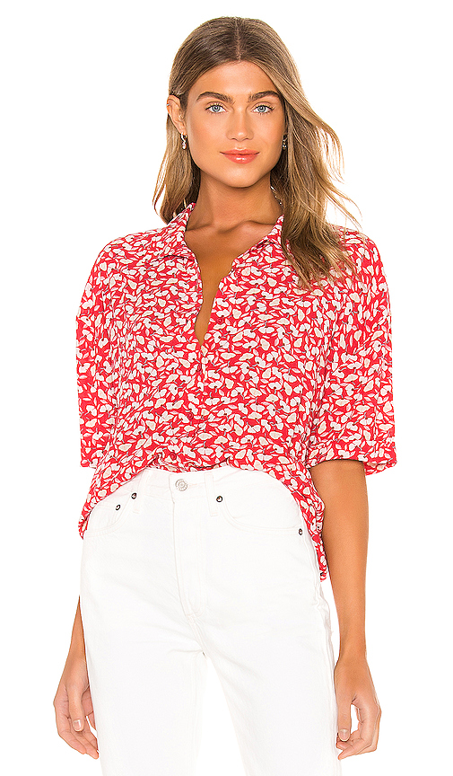 AMUSE SOCIETY Miaou Short Sleeve Blouse in Red. - size M (also in L,S,XS)