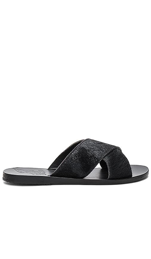 Ancient Greek Sandals Thais Calf Hair Slide in Black