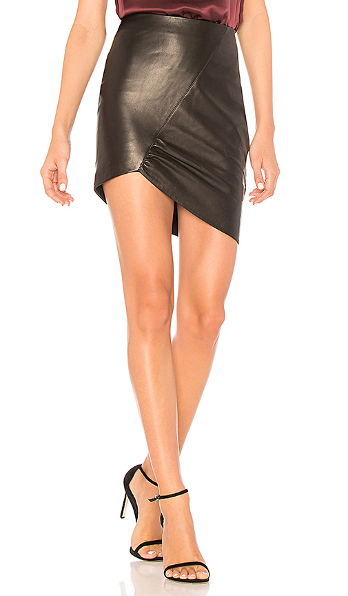 ANINE BING Asymmetric Leather Skirt in Black. - size XS (also in M,S)