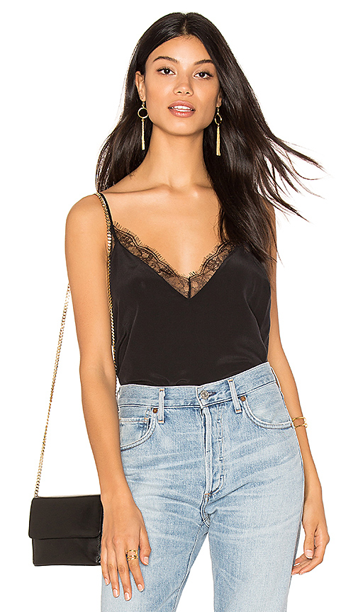 ANINE BING Deep V Silk Cami in Black. - size S (also in L,M,XS)