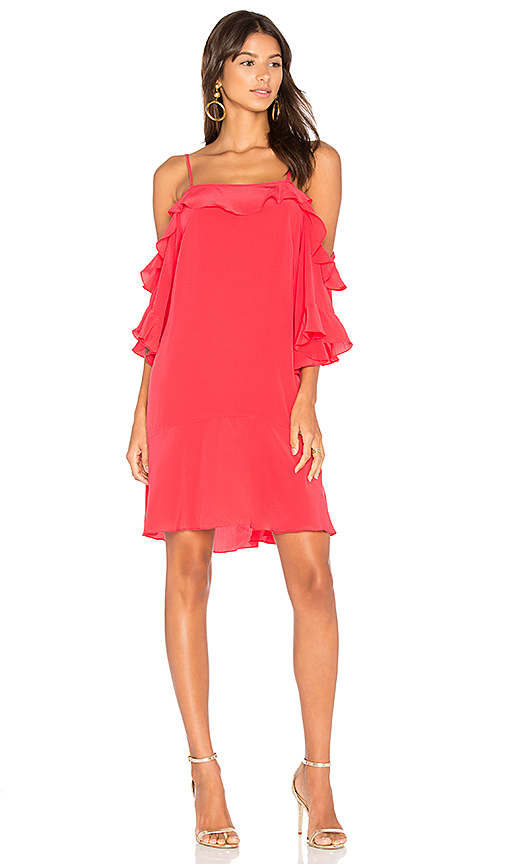 ANIMALE Ruffle Front Mini Dress in Red. - size 36/XS (also in 38/S)