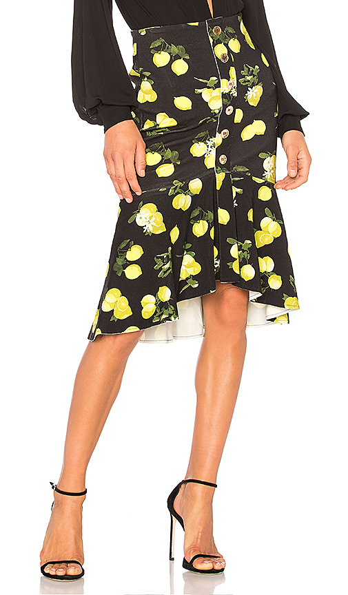 ANIMALE Ruffle Midi Skirt in Black. - size 36/XS (also in 38/S,40/M)